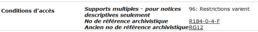 exemple de description dans la base de données « Recherche de fonds d'archives » affichant le code d'accès 96 : Restrictions varient.