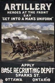 Affiche en couleur d'un paysage en combat avec un char tiré par des chevaux et des soldats, s'enfuyant de la canonnade.