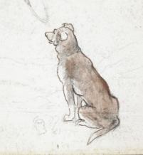 Croquis en couleur d'un chien brun assis.