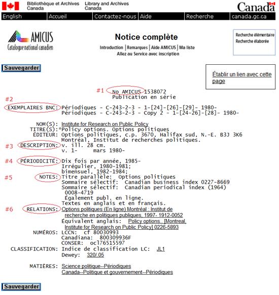 Saisie d'écran d'une notice complète du catalogue AMICUS  avec les champs correspondants (source : AN1538072)