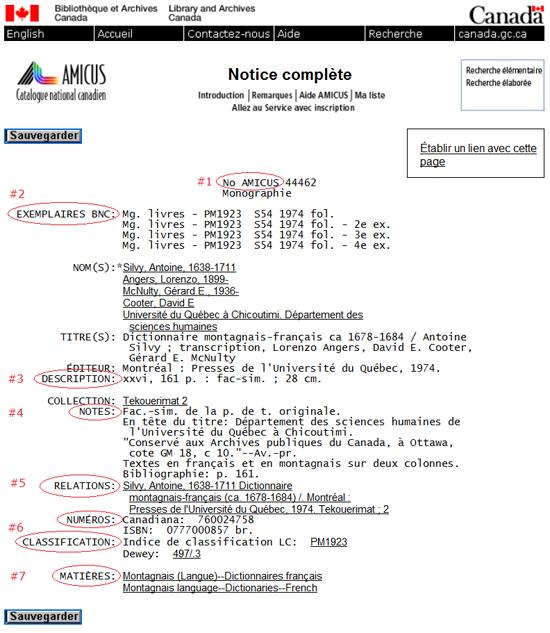Saisie d'écran d'une notice complète du catalogue AMICUS  avec les champs correspondants (source : AN 44462)