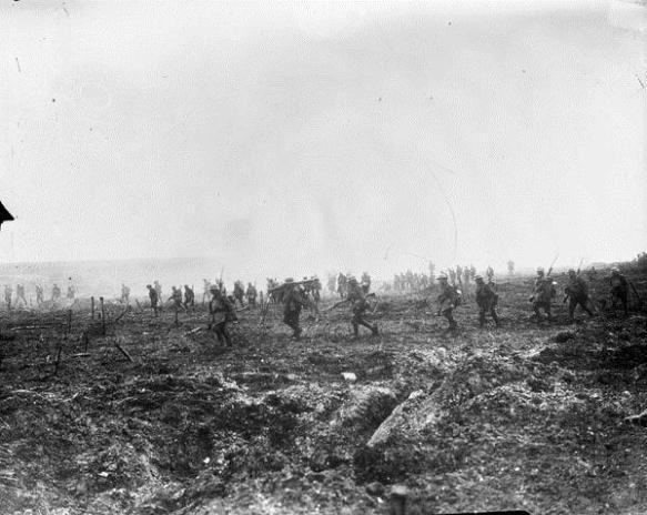 Pendant la bataille de la crête de Vimy, le 29e Bataillon d'infanterie avance sur le no man's land malgré les barbelés allemands et le feu nourri des tireurs.