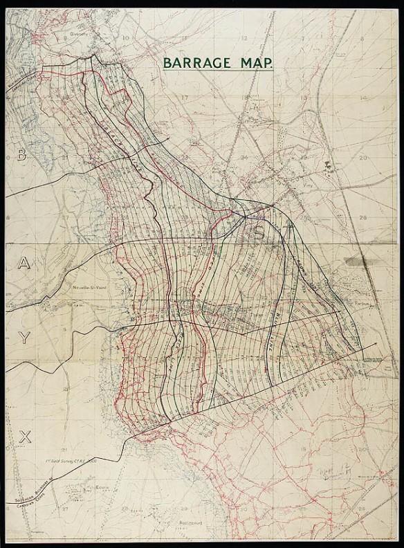 Carte d'un barrage [matériel cartographique] : [région de la crête de Vimy, France]