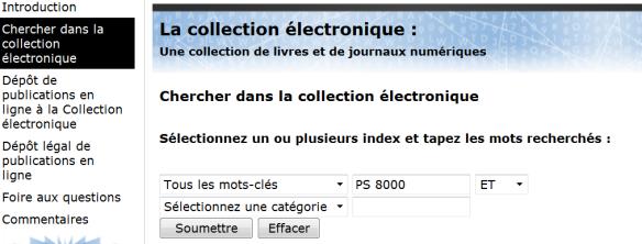 Image 1 : Écran de recherche dans la collection électronique