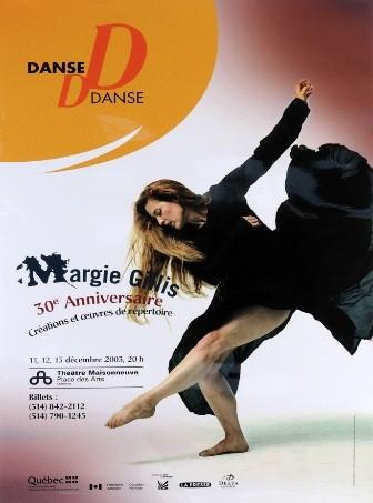 Annonce pour un spectacle de danse avec Margie Gillis.
