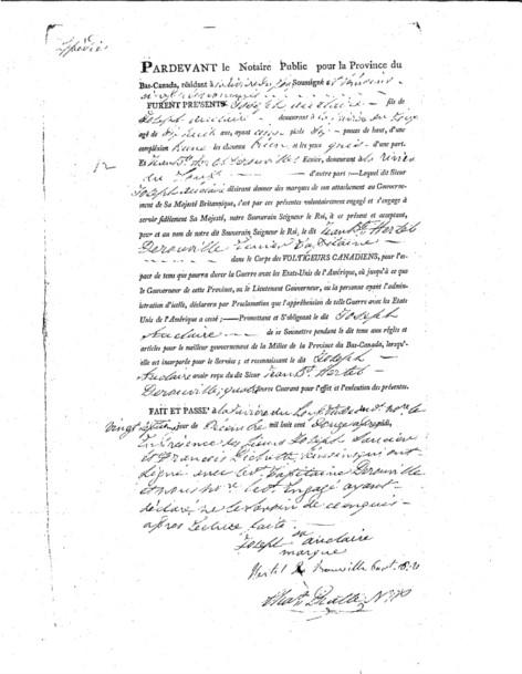 Acte d'engagement de Joseph Auclair par le sieur Jean-Baptiste-René Hertel de Rouville, capitaine, corps des Voltigeurs canadiens, rédigé devant le notaire Charles Pratte, le 27 décembre 1812, Bibliothèque et Archives nationales du Québec.
