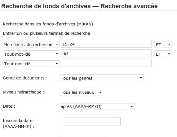 Recherche de fonds d'archives - Recherche avancée