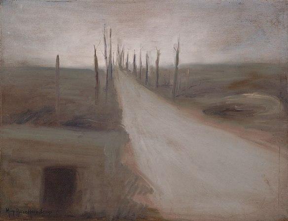 Peinture montrant une route avec des arbres détruit aux abors.