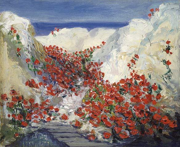 Peinture montrant un crat`re rempli de fleurs de pavots.