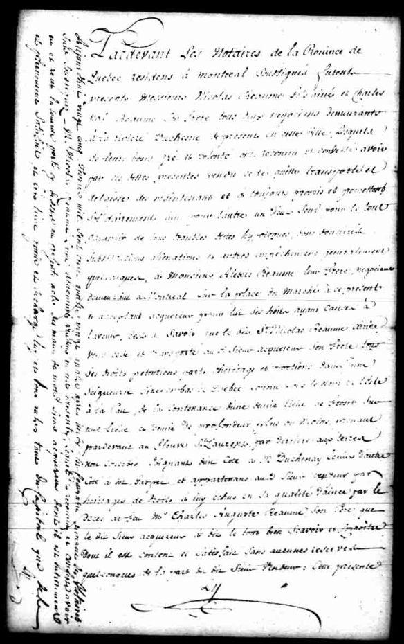 Vente par Nicolas Réaume et Charles-Noël Réaume à leur frère Alexis. Notaire F. Le Guay, 9 mai 1781. Bibliothèque et Archives Canada, MG18-H44, vol. 8, 4 pages.