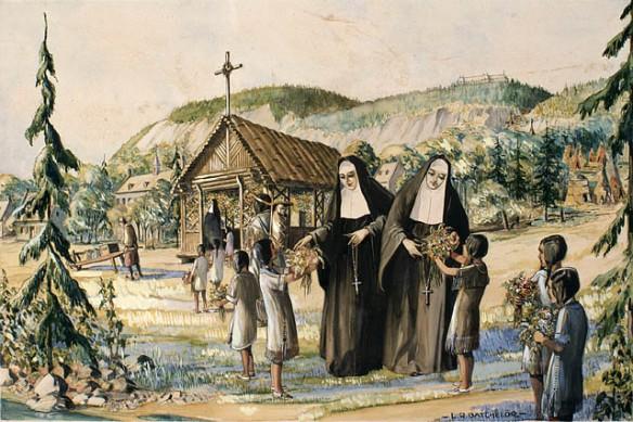 Premières religieuses ursulines avec des étudiantes amérindiennes, à Québec.