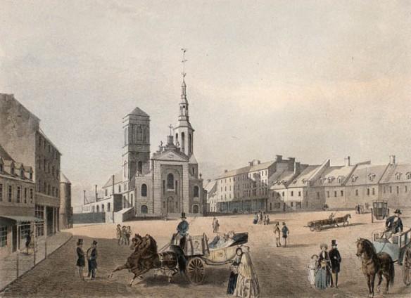 Cathédrale Notre-Dame et place du marché, Québec, 1850