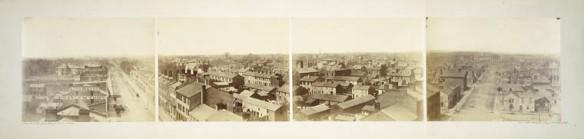 Une vue de la rue King Ouest jusqu'à la rue York Nord, à Toronto, prise à partir du Rossin House Hotel.