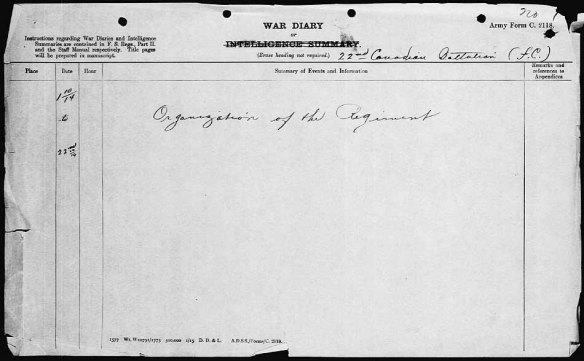 Page du journal de guerre du 22e Bataillon d'infanterie canadien.