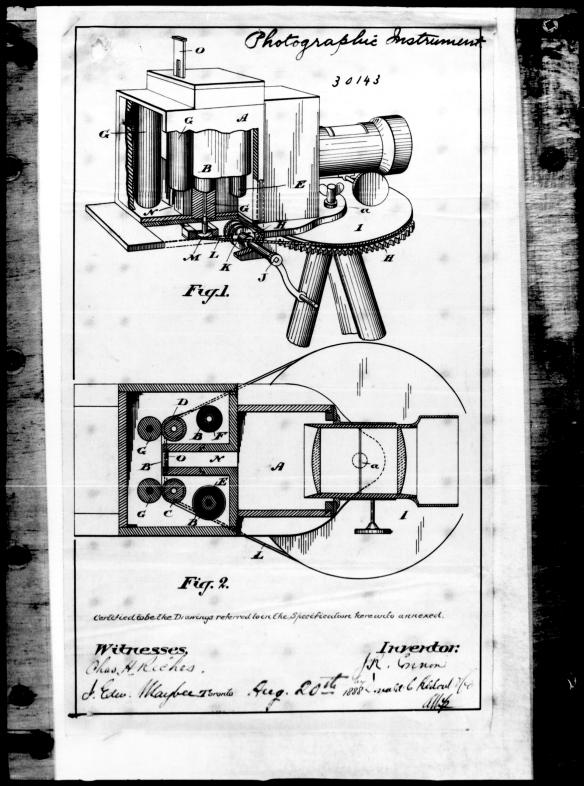 Une page de la demande de brevet de John Connon en lien avec l'appareil photo panoramique, 1888.