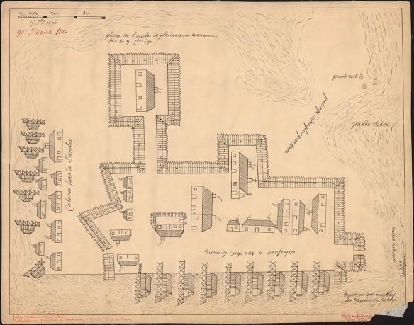 Anonyme. Plan de l'enclose de Plaisance en Terre-Neuve [dessin d'architecture] : fait le 15 [septem]bre, 1690.