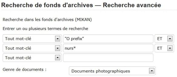 Écran « Recherche de fonds d'archives – Recherche avancée » montrant une recherche de photos liées aux soins infirmiers (nursing) dans la série du préfixe « O ».