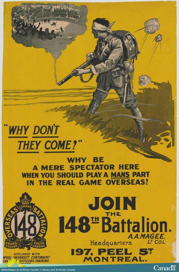 Affiche de guerre dépeignant un soldat qui voit dans la fumée de son fusil une aréna remplie d'amateurs de hockey regardant des joueurs sur la glace.