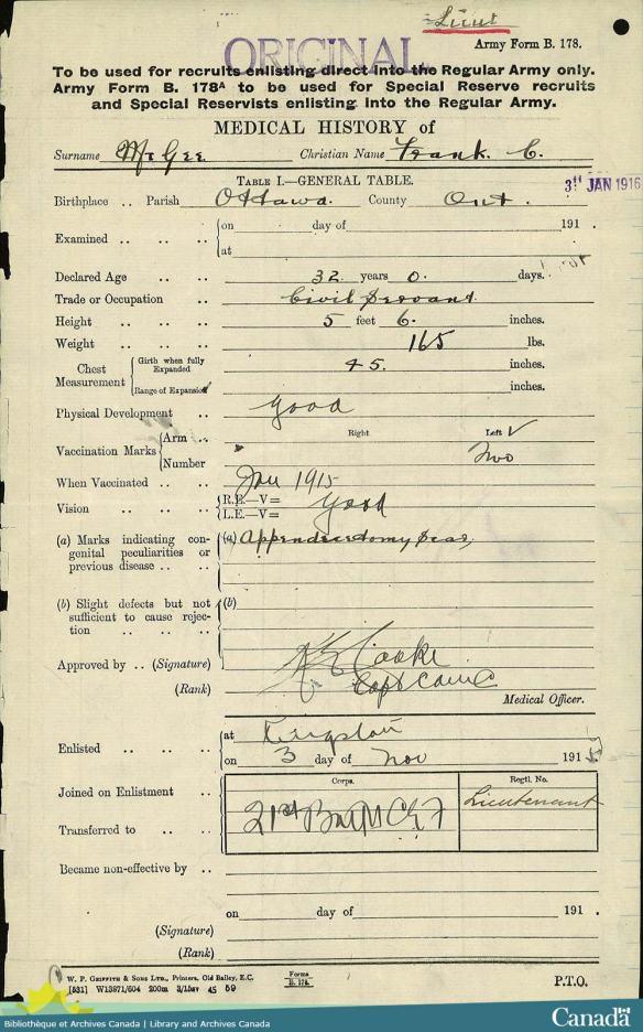 Image numérisée d'un formulaire présentant de l'information médicale et dont les champs sont à l'encre noire et les réponses écrites à l'encre noire également.