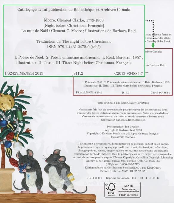 Image montrant la première page rector d'un livre avec l'information de catalogage.