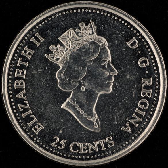 Photo du côté face de la pièce canadienne de 25 sous représentant le profil de la reine Elizabeth II.