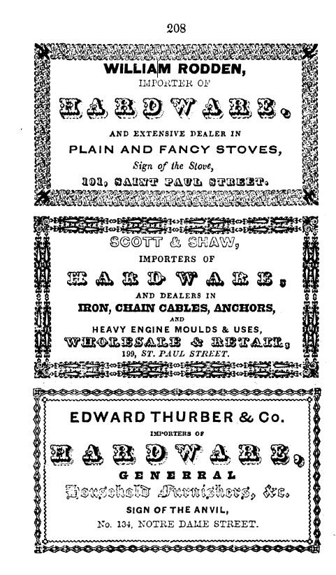 Reproduction noir et blanc d'une page de l'annuaire avec trois cartes professionnelles annonçant des quincailleries.