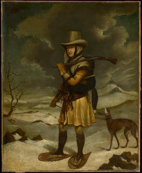 Peinture à l'huile illustrant le capitaine George Cartwright en train d'inspecter ses pièges à renard pendant l'hiver, au Labrador. Il est chaussé de raquettes, transporte un fusil sur une épaule et tient un chien en laisse, attaché à sa ceinture.