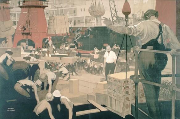 Illustration en couleurs montrant des ouvriers qui déchargent de la marchandise et utilisent des filets et des plates-formes sur un quai très encombré, avec un navire en arrière-plan.
