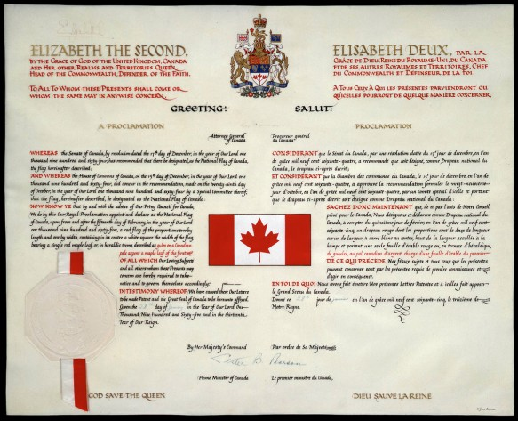 Reproduction en couleur de la proclamation du drapeau canadien. Le document décrit le drapeau et indique la date de son entrée en vigueur.