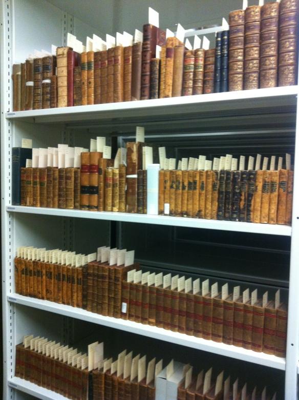Photographie couleur montrant des rangées de livres sur une étagère. Chaque livre est identifié par une bande de papier portant une cote topographique.