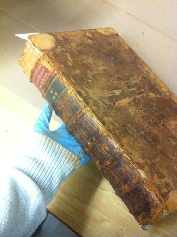 Photographie couleur d'une main gantée tenant un livre portant des signes évidents de pourriture rouge. Le gant et la manche sont couverts d'une fine poussière brun-rouge.