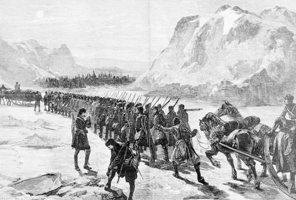 Gravure en noir et blanc tirée du Illustrated London News, 1885. L'esquisse montre une colonne de soldats qui marchent dans un paysage hivernal.