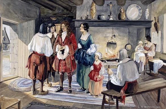Une aquarelle montrant une scène intérieure. Plusieurs personnes sont debout au tour d'un personnage centrale (Jean Talon). Dans l'arrière-plan, on voit une cheminée avec feu et une marmite, une femme et son bébé, ainsi qu'un vieillard assis sur un banc.