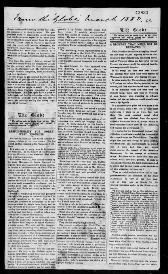 Reproduction en noir et blanc d'une coupure de journal du Globe de Toronto en 1885. Il s'agit d'un article sur la Rébellion du Nord-Ouest.