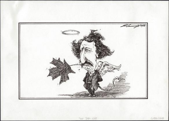 Une caricature illustrant Louis Riel avec les ailes d'un ange, une queue de diable et une auréole, quelque peu en retrait. Il a une tige de feuille d'érable dans la bouche, comme s'il s'agissait d'un brin d'herbe.