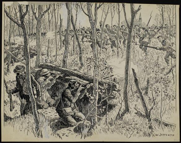 Dessin à la plume (recouvrant les traits de crayon) illustrant un combat en forêt, les Métis se trouvant derrière une barricade et tirant sur l'armée britannique en approche. Les Métis sont bien moins nombreux.