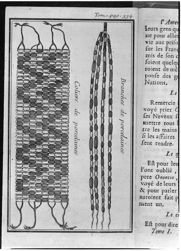 Dessin montrant deux exemples de wampum : un collier et des branches de porcelaines.