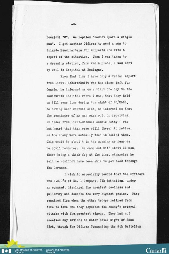 Reproduction en noir et blanc d'un compte rendu dactylographié du 7e Bataillon d'infanterie du Canada durant la période à laquelle le lieutenant Bellew a posé les actions qui lui ont mérité la croix de Victoria.