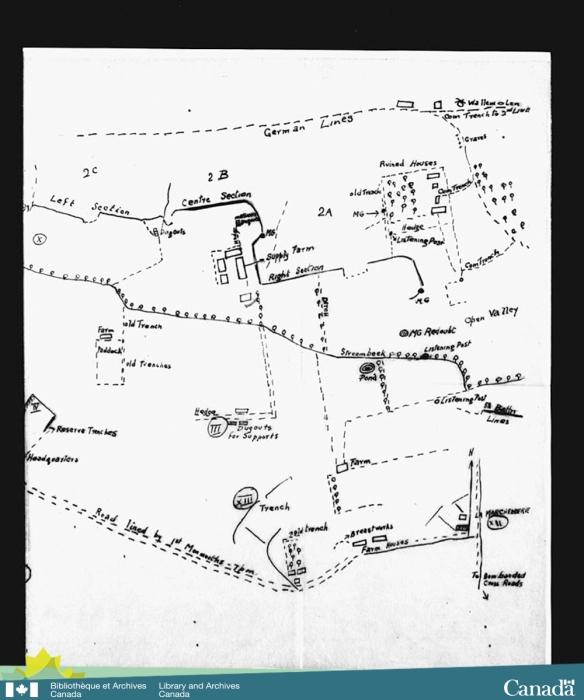 Dessin d'une carte des tranchées où le 8e Bataillon d'infanterie du Canada s'était engagé lors de la première bataille d'Ypres.