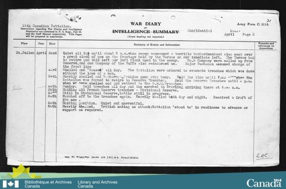 Reproduction d'une page dactylographiée décrivant les activités des troupes durant la période du 22 avril au 30 avril 1915.