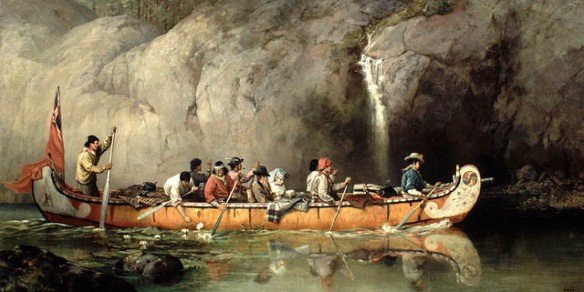 Peinture démontrant un groupe de travailleurs de la traite de fourrure qui dirige un canot de la Compagnie de la Baie d'Hudson près d'une chute d'eau. L'artiste et son conjoint sont peut être les passagers du milieu du canot.