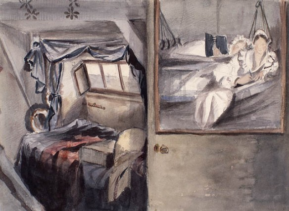 Croquis à l'aquarelle illustrant l'artiste et sa sœur, vêtues de vêtements de nuit, allongées sur la couchette d'une cabine de leur navire.