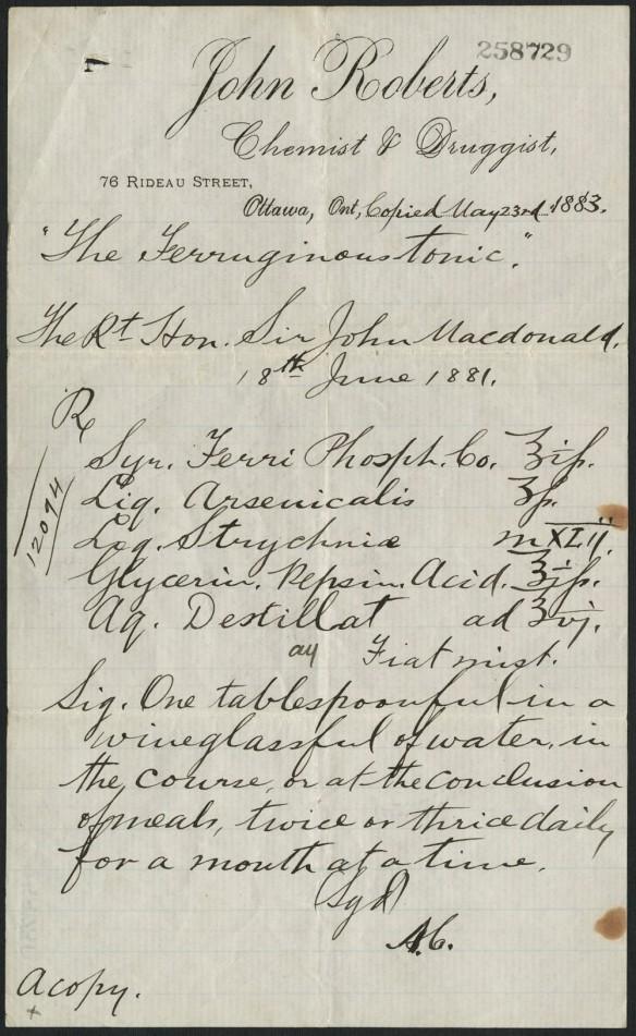 Image d'une ordonnance de 1883 du « chimiste et pharmacien » d'Ottawa John Roberts, pour un fortifiant visant à soulager les problèmes gastriques de Sir John A. Macdonald.