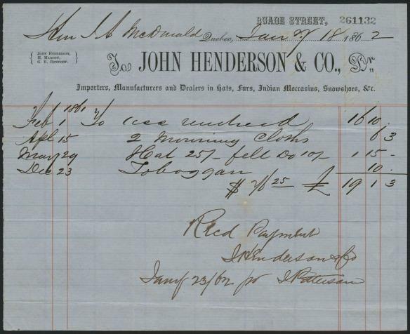 Reçu écrit à la main du marchand de fourrures montréalais John Henderson & Company décrivant les achats effectués à différentes dates par Sir John A. Macdonald, notamment un traîneau acheté le 23 décembre 1862.