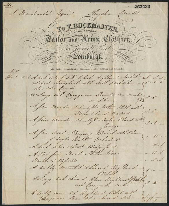 Image d'un reçu détaillé pour l'achat d'un ensemble complet de vêtements et d'accessoires du clan Macdonald (des Highlands), incluant un kilt et un veston