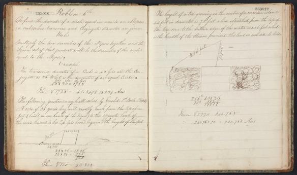 Image d'un cahier d'écolier de sir John A. Macdonald; le cahier est ouvert à une page d'exercices de géométrie.