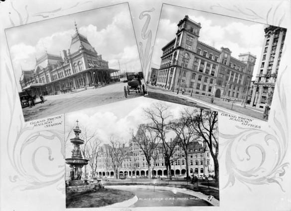 Une carte postale en noir et blanc reproduisant trois photographies de bâtiments situés à proximité de la gare de train à Montréal.