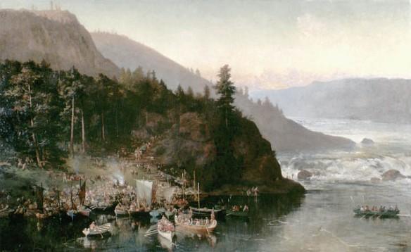 Peinture illustrant diverses activités menées par les membres de l'expédition de la rivière Rouge du colonel Garnet Wolseley (1870), alors qu'ils transportent, par portage, canots et approvisionnements, aux abords des chutes Kakabeka, sur la rivière Kaministiquia, en Ontario, ainsi qu'une vue imprenable de la gorge de Kaministiquia avec, en arrière-plan, des rapides et des montagnes.