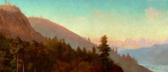 Détail des collines, dans la gorge de Kaministiquia, que l'artiste a illustrées comme des montagnes.