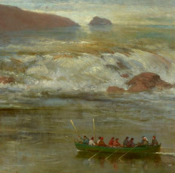 Détail des rapides de la rivière Kaministiquia, inventés par l'artiste sur cette peinture.